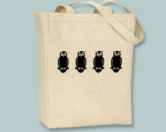 Row of Vintage Owls illustration on zip top Canvas Tote -- Selection of sizes available