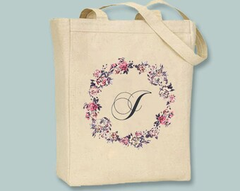 Gorgeous Floral Wreath Monogram initial on Canvas Tote -- Selection of  sizes available