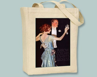 Arrow Collars and Shirts vintage Poster BLACK or NATURAL Canvas Tote -- Selection of tote sizes available