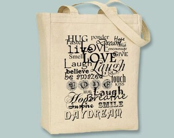 Live Laugh Love Typography Canvas Tote  - Selection of sizes, ANY COLOR image