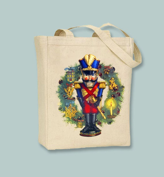 Nutcracker and Wreath illustration  Canvas Tote - selection of sizes available