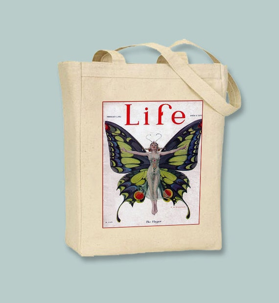 1920s Life Magazine Cover, The Flapper, 1922,BLACK or NATURAL canvas tote  - Selection of  sizes available