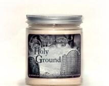Halloween candles, Holy Ground, halloween decor, halloween decoration, cemetery headstone, graveyard dirt, autumn candle
