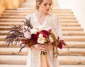 Elizabeth Lace robe bridal getting ready in ivory