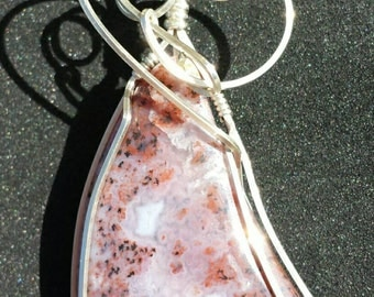 Red, Pink and White Agate Sterling Silver Wire Wrapped Pendant