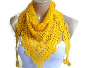yellow  crochet scarf, Holiday Accessories, Halloween, gift, mothers day,  winter trends
