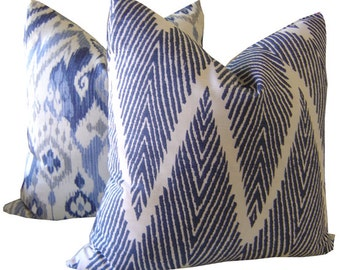 Indigo Ikat Pillow - Navy Chevron Pillow - Navy Lumbar Pillow - Chevron Pillows - Accent Pillow - Navy Cushions - Navy Pillow - Navy Chevron