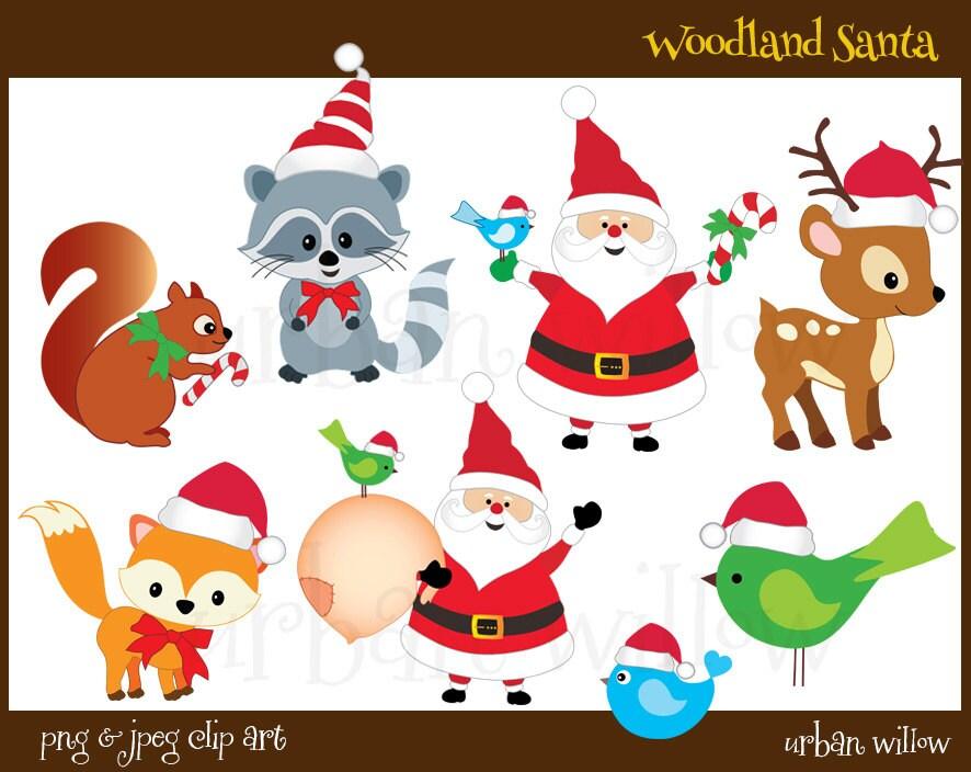 WOODLAND Clipart Santa Clipart Cute Santa Clipart Christmas