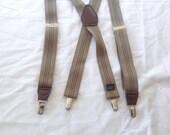 Suspenders / vintage Khaki Tan elastic clip on suspenders braces