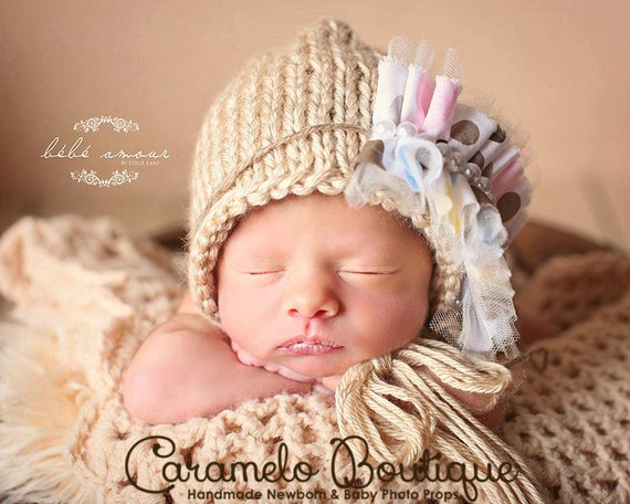 Cute Newborn Bonnet with detachable Pearl Headband-Elegant Baby Girl Bonnet-Baby Girl Photo Props-Newborn Photo Outfit-Knit Baby Girl Bonnet