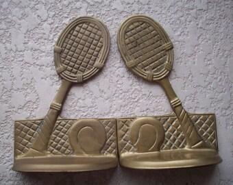 Brass Tennis Raquet Bookends
