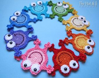 CROCHET PATTERN - Hoppy Frogs - a crochet frog pattern, frog applique pattern, frog coaster pattern, the frog prince - Instant PDF Download