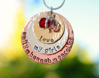 3 disc MIXED METAL hand stamped mothers necklace