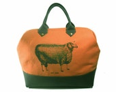 Canvas and Leather Handmade Mason Bag, Knitting Tote with Sheep