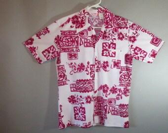 SALE 10.00***HAWAIIAN // Polyester // Luau Tiki Shirt // Hot Pink and Maroon