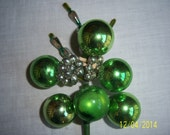 Homemade Christmas Corsage With Chenille Pipe Cleaner  -  Vintage Green Corsage with Mercury Glass Ball -   Retro Christmas Brooch Pin