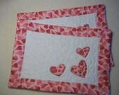 Valentine Mug Rugs Pink and White  Hearts