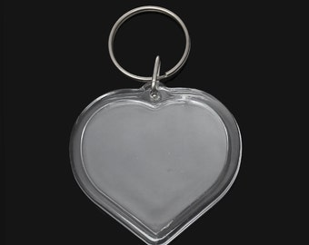 2 Large Clear Acrylic HEART Photo Setting Key Ring Pendants, 7.8x5cm  cha0139