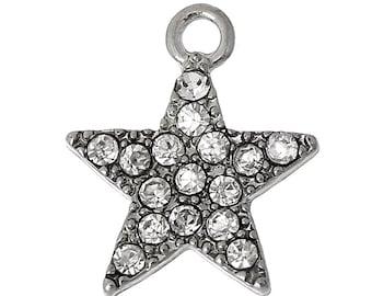 4 Silver Tone RHINESTONE STAR Charm Pendants chs1588a