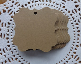 "50 kraft brown paper gift tags -  2"" tags, wedding favor tags - die cuts - price tags - hang tags - kraft tags"