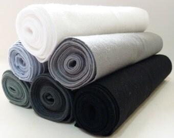 Wool Blend Felt Grey Black White Shades