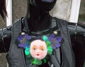 sequin doll face gothic steam punk lace bib necklace