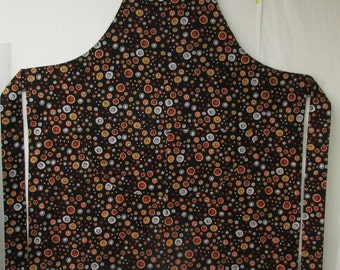 Bib Apron (Brown, White Circles on Black Background)