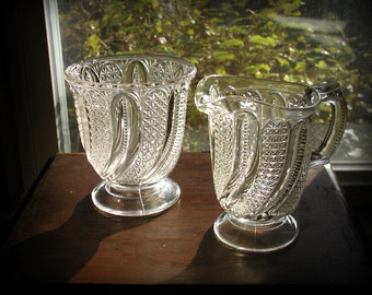 Vintage Victorian EAPG Creamer and Sugar Spooner McKee Bros. Feather Swirl a/k/a Doric Pattern