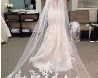 Clearance 30% off! Single Layer Lace Edge Cathedral Length Veil White
