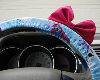 Steering Wheel Cover Bow, Disney's Frozen Inspired ANNA Steering Wheel Cover with Hot Pink Bow, Frozen Wheel Cover with Pink Bow BF11001
