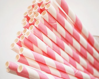 Bubble Gum Pink  Striped Paper Straws
