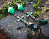 Cross Statement Earrings. Gothic Antique Bohemian Green Ombre Earrings.