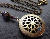 Scent or Perfume Locket in Antique Brass. Victorian Filigree Aromatherapy Steampunk in custom colours