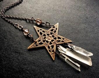 Starlight Raw Quartz Crystal Necklace. North Star Pagan Pentagram Necklace. Made to Order