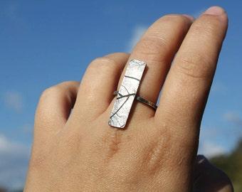 Silver leaf imprint bar ring adjustable