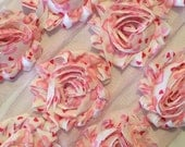 "Light PInk Hearts Shabby Flower  Rose Trim  2.5"" Shabby Flowers Shabby frayed Chiffon Flowers Printed Trim Wholesale Rosette trim 6cm yard"