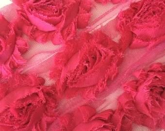 "Dusty Fushia Pink Shabby Rose Trim 2.5"" Shabby Flowers Shabby Chiffon Flowers Solid Shabby Chic Trim Wholesale Rosette trim 6cm 1 yard #414"