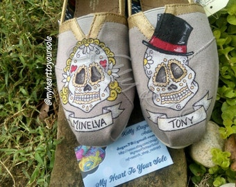 Price includes shoes. Simple sugar skull male/female TOMS