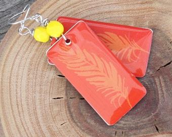 Orange Enamel Feather Earrings - Silver earwires, orange earrings, feather earrings, boho earrings, festival earrings, bright earrings