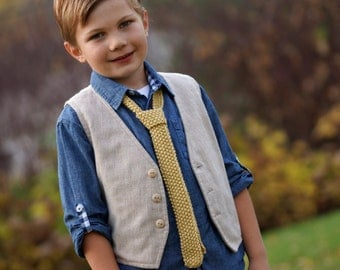 Boys Necktie  yellow gold tie hand knit