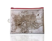 London Fold over clutch, women hand bag, zipper pouch, printed with the map of ancient London