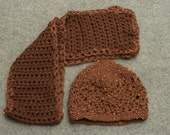 Knitted Hat & Crocheted Scarf