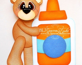 Premade Paper Piecing for Scrapbook Page School Bear with Glue Handmade