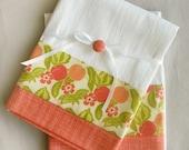 Kitchen towels peach floral cotton accent - set of two flour sack towels