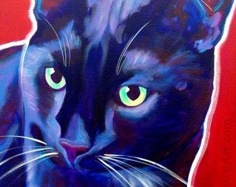 Black Cat, Pet Portrait, DawgArt, Cat Art, Pet Portrait Artist, Colorful Pet Portrait, Pet Portrait Painting, Art Prints, Tuxedo Cat