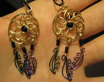Wire Wrapped Dream Catcher Earrings MADE to ORDER