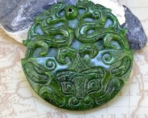 Large Carved Jade Pendant,Green Jade Pendant  Chinese Two Old Dragons Jade 73mm Amulet Talisman Necklace Pendant Jewerly