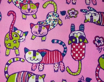 Cat in a hand drawing forms, magenta, fat quarter, pure cotton fabric