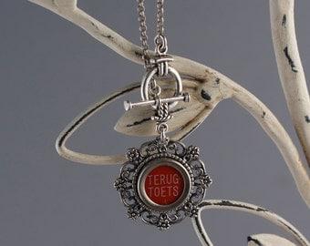 Typewriter Key Necklace -Dutch Typewriter Key-Terug Toets Typewriter Key-Red Typewriter Key Necklace-Glass Covered Red Key-