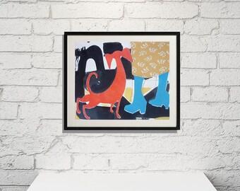 "Acrylic  original   painting _ graphic ( 7,5"" x 9,5 inches  )Dog 3 Art"